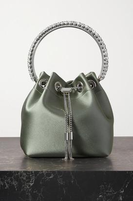 Jimmy Choo Bon Bon Crystal-embellished Satin Bucket Bag - Green