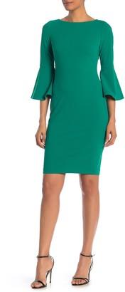 Modern American Designer Bell Sleeve Sheath Dress