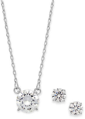 Alfani Silver-Tone 2-Pc. Set Cubic Zirconia Solitaire Pendant Necklace & Matching Stud Earrings
