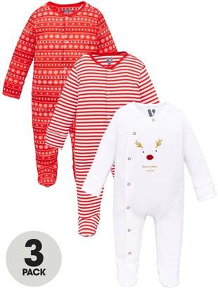 Very Unisex Baby3 Pack Christmas Sleepsuits - Multi