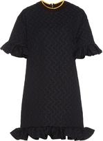 Marni Ruffled circular-jacquard dress