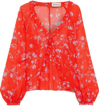 Nicholas Ruffle-trimmed Floral-print Silk-gauze Blouse
