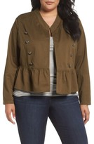 Sejour Plus Size Women's Military Peplum Jacket