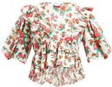 Rhode Resort Elodie Floral-print Cotton-voile Blouse - Womens - White Print