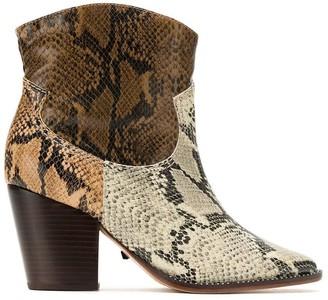 Schutz Panelled Snake Effect Boots