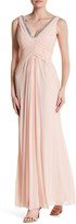 Marina Double V Ruched Embellished Gown
