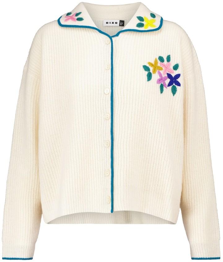 Rixo Tinsley embroidered wool cardigan