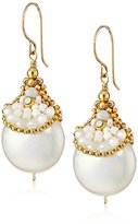 Miguel Ases Fresh Water Pearl and Miyuki Pocketed Drop Earrings