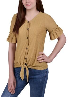 NY Collection Women's Short Ruffle Sleeve Blouse