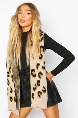 boohoo Chunky Knit Leopard Jacquard Scarf