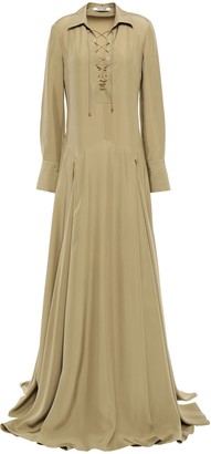 Roberto Cavalli Lace-up Pleated Silk-habotai Maxi Shirt Dress