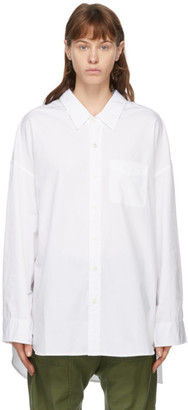 R 13 White Drop Neck Oxford Shirt