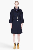 Kenzo navy wool belted military-style Coat