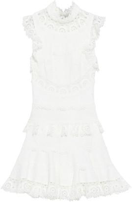 Zimmermann Peggy Tiered Swiss-dot Linen And Cotton-blend Mini Dress