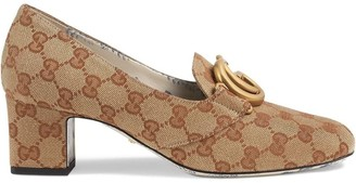Gucci GG canvas mid-heel pump with Double G