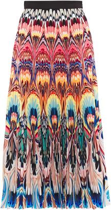 Mary Katrantzou Pleated Printed Crepe Midi Skirt