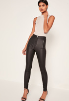 Missguided Black High Waisted Coated Zipped Skinny Jeans