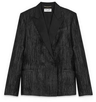 Saint Laurent Double-Breasted Plisse Tuxedo Jacket