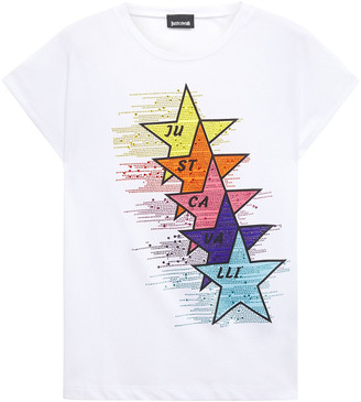 Just Cavalli Crystal-embellished Printed Cotton-jersey T-shirt