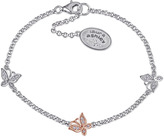 Laura Ashley Diamond Accented Rose-Plated Silver Butterfly Themed Link Bracelet