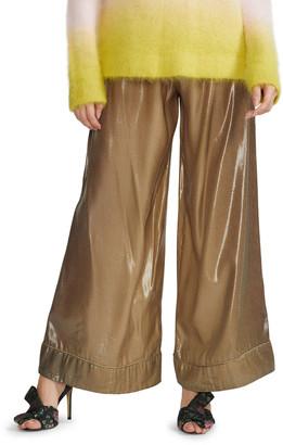 Cynthia Rowley Silk Lame Jogger Pants