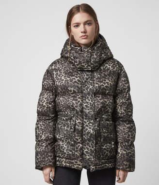 AllSaints Kala Leopard Puffer