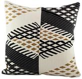 Geometric Hand Woven Champagne Cotton Cushion Cover, 'Tecpan Beauty'