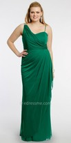 Camille La Vie One Shoulder Rhinestone Trim Plus Size Evening Dress