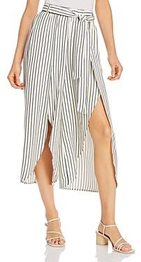 BB Dakota Cut the Wrap Striped Slit-Leg Pants