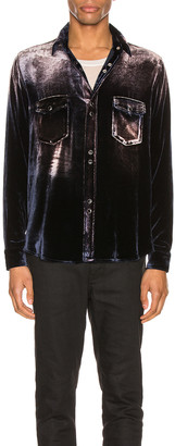 Saint Laurent Oversized Shirt in Navy Light Bleach   FWRD
