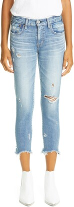 Moussy Glendele Ripped Crop Skinny Jeans
