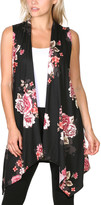 Brooke & Emma Women's Sweater Vests DT08 - Black & Pink Floral Drape-Front Open Vest - Women & Plus