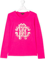 Roberto Cavalli teen long sleeve logo T-shirt