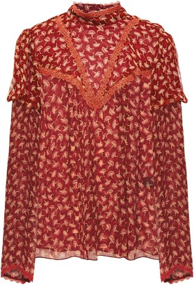 Anna Sui Lace-trimmed Pintucked Printed Silk-crepon Blouse