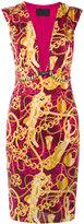 Philipp Plein chain print plunge neck shift dress - women - Cupro/Spandex/Elastane/Polyamide - S