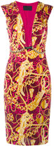 Philipp Plein chain print plunge neck shift dress - women - Polyamide/Spandex/Elastane/Cupro - M