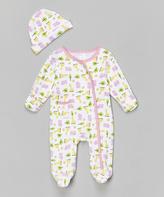 SpaSilk Pink Giraffe Footie & Beanie - Infant