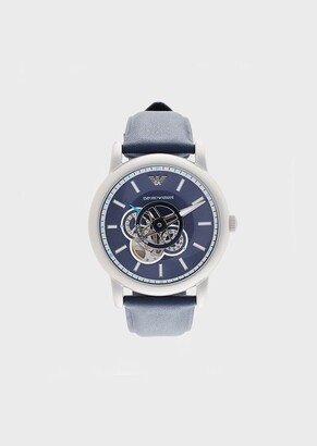 Emporio Armani Men'S Automatic Leather Watch
