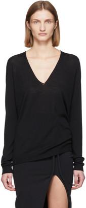 Rick Owens Black Merino Soft V-Neck Sweater