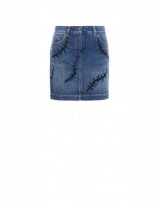 Moschino Denim Scars Mini Skirt Woman Blue Size 38 It - (4 Us)