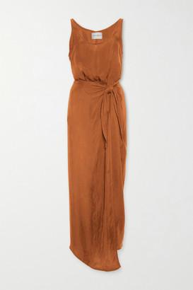 Anémone Cupro Wrap Dress - Brown