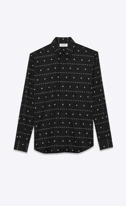 Saint Laurent Classic Shirts Cotton Voile Indian Flower Shirt Black 14