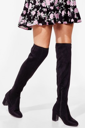 Nasty Gal Womens Show's Over-the-Knee Wide Fit Heeled Boots - Black - 3