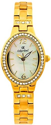 Charles Gerard By Oskar Emil Paris by Oskar Emil Gold Plated Ladies Mother of Pearl Crystal Set Watch