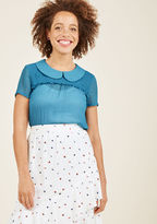 MCT1294 Vintage-inspired and versatile, this sheer blouse from our ModCloth namesake label is a true wardrobe win! The Peter Pan collar, smocked yoke, and subtle bust ruffle of this aqua top await a whole slew of occasions and you're just the stylista to take it