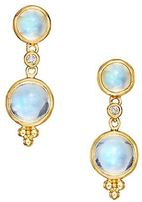 Temple St. Clair Royal Blue Moonstone, Diamond & 18K Yellow Gold Double-Drop Earrings