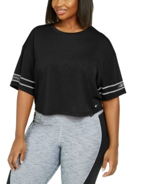 Nike Plus Size Logo-Sleeve Dri-fit Cropped T-Shirt
