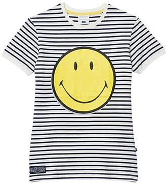 Toobydoo Striped Smile T-Shirt (Toddler/Little Kids/Big Kids) (Blue/White) Girl's Clothing