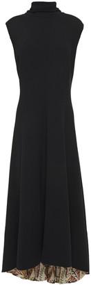 Oscar de la Renta Floral-print Quilted Wool-blend Crepe Midi Dress
