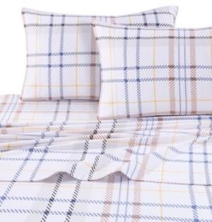 Tribeca Living Modern Plaid Luxury Extra Deep Pocket Flannel Cal King Sheet Set Bedding